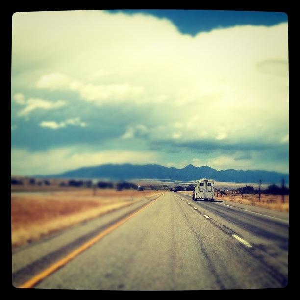 driving towards crazy mountain